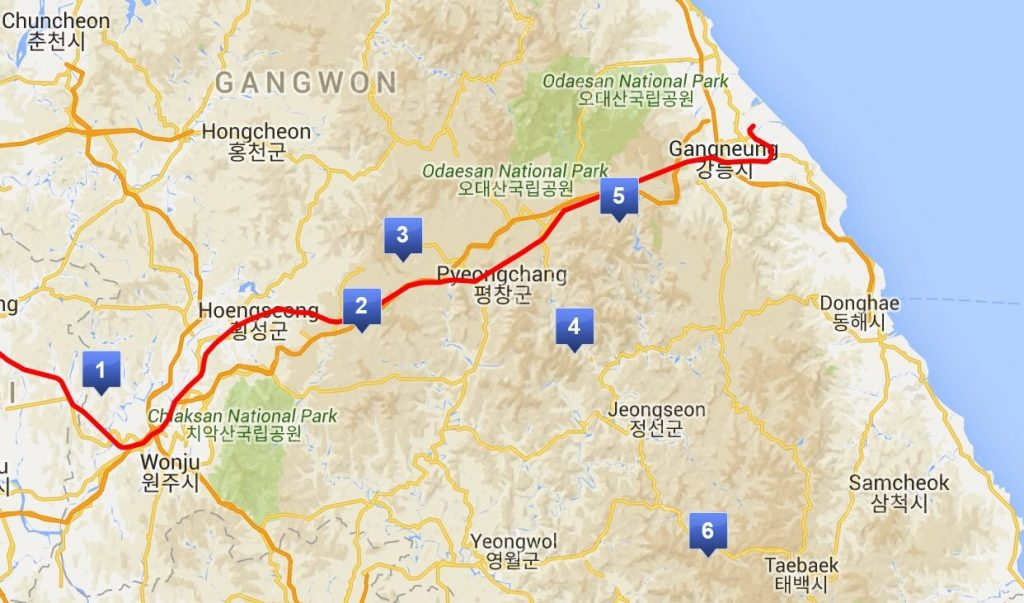Map of the Gangneung KTX route also showing ski resort locations