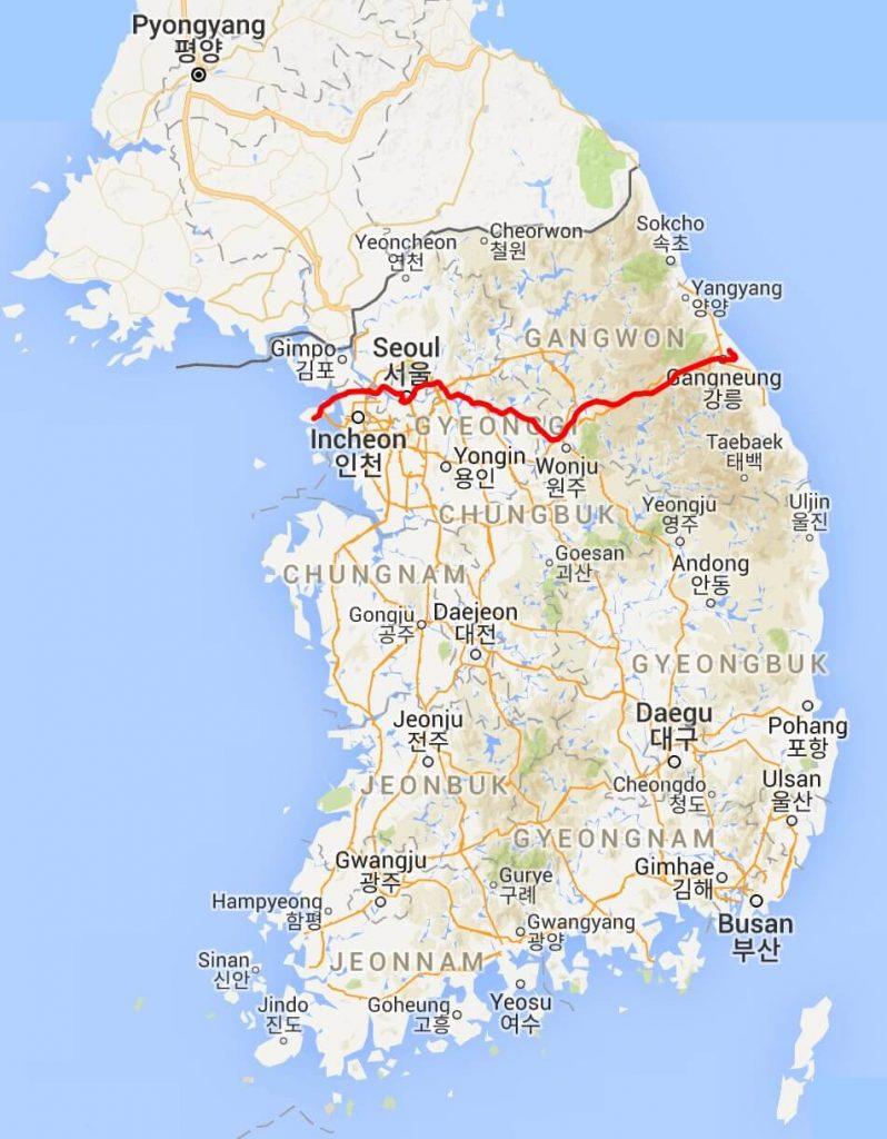 Map of korea showing the route of the Gangneung KTX
