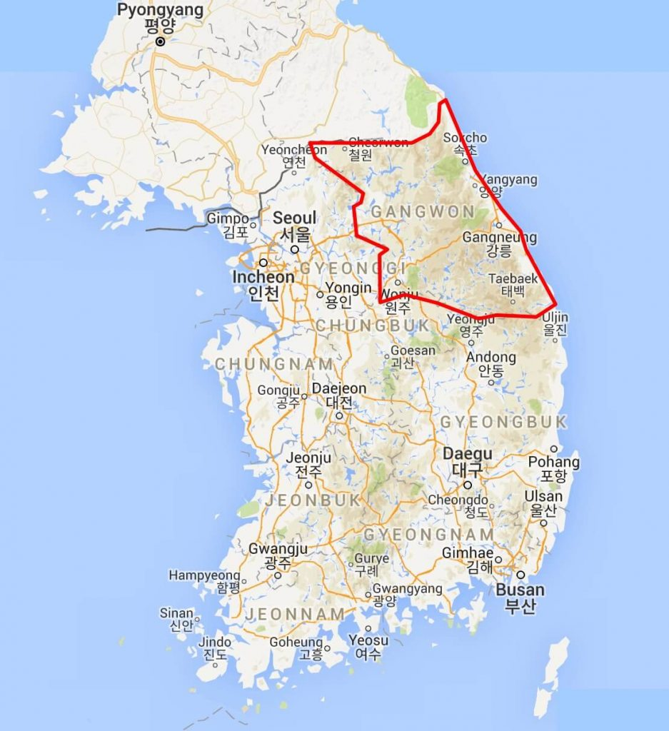 Map showing borders of South Korea's Gangwon-do province