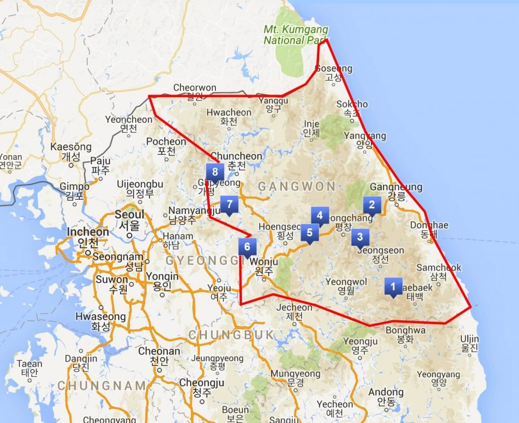 Map showing locations of the ski resorts in South Korea's Gangwon-do province