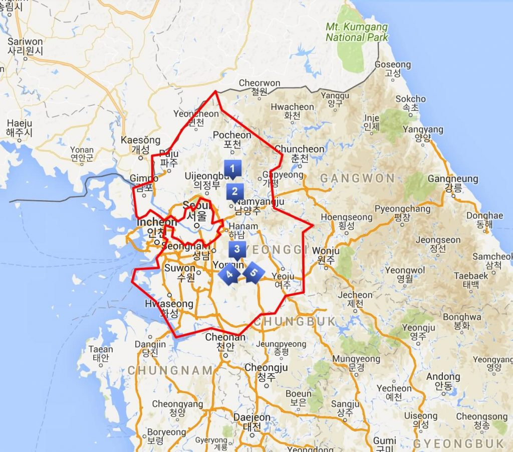 Map showing locations of the ski resorts in South Korea's Gyeonggi-do province