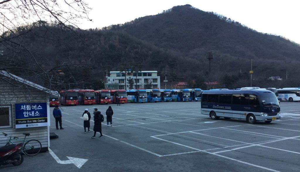 Shuttle buses at Jisan Forest Resort