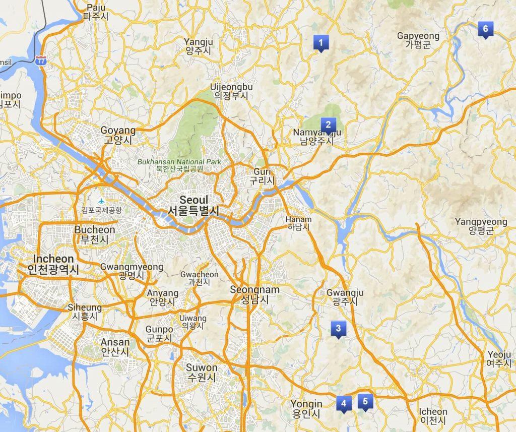 Map of Seoul's local ski hills