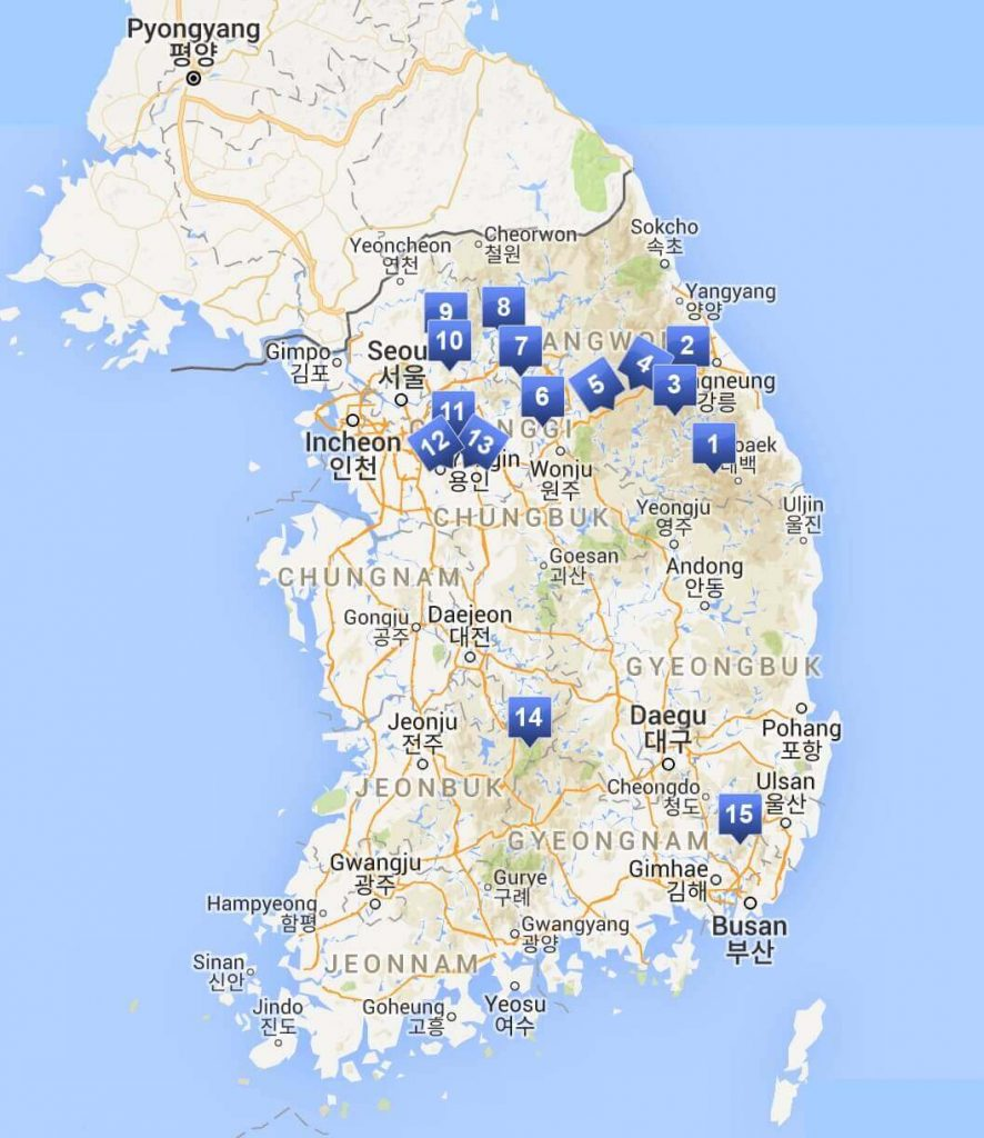 Map showing the locations of South Korea's ski resorts