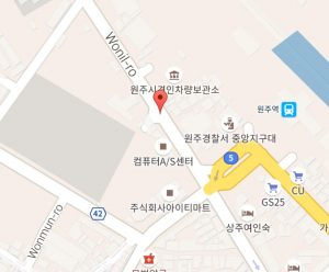 Map showing location of the Welli Hilli shuttle bus stop outside Wonju Station