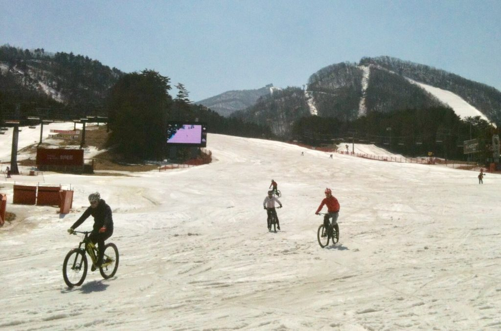 Snow bikers at Yongpyong