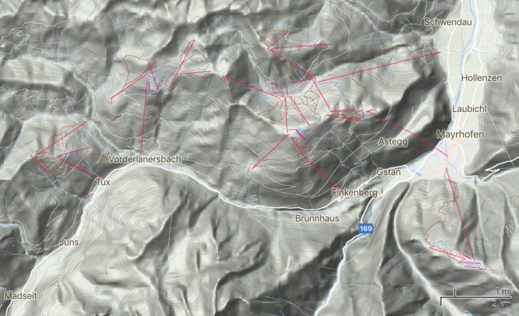 Satellite view terrain map of Mayrhofen