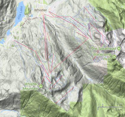 Satellite view terrain map of Whistler