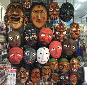 Traditional masks on sale in Insadong