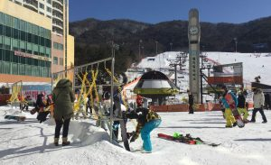 Cleaning ski equipment with the airguns at Welli Hilli Park